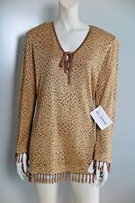NWT St. John Couture Kenya Golden-Shimmer Wooden-Bead-Trim Retro Tunic Size M