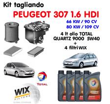 KIT TAGLIANDO OLIO TOTAL QUARTZ 5W40 LT 4 + 4 FILTRI PEUGEOT 307 1.6 HDI WIX