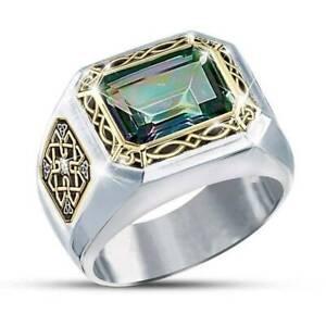 Men's Square Emerald 925 Silver Gemstone Ring Wedding Engagement Fashion Jewelry