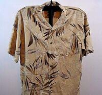 Hilo Hattie The Hawaiian Original Tan w/Green Leaves SS Silk Small