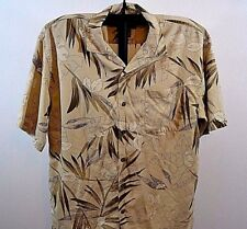Hilo Hattie The Hawaiian Original Tan w/Green Leaves SS Silk Small
