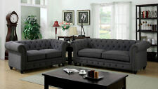 Gray Color Traditional Formal 3 Pc Sofa Love-seat Chair Living Room Furniture