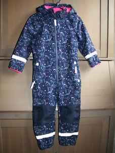 topolino Softshell Anzug Overall Gr. 104 Einhorn blau wie neu