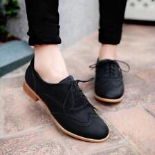 Women Shoes Brogue Lace Up Wing Tip Oxford College Style Flat Fashion Shoes