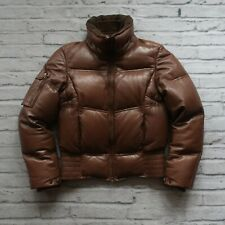 Womens Ralph Lauren Lamb Leather Puffy Down Jacket Size L Puffer Polo Brown