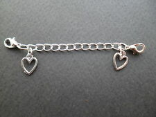 SILVER CLIP ON WITH  HEARTS SAFETY EXTENDER CHAIN FOR BRACELET & NECKLACE