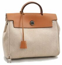 Auth HERMES Her Bag PM Hand Bag Canvas Leather Ivory Brown A7069