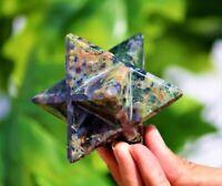 Nice 70MM Green Chrysocolla Stone Healing Charged Reiki & Chakras Merkaba Star