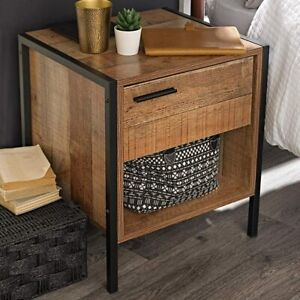 Urban Rustic Bedside Table Cabinet, Wood Brown with Black Metal Frame LPD Hoxton