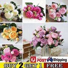 9 Heads Silk Peony Artificial Flower Fake Bouquet Wedding Bride Home Party Decor