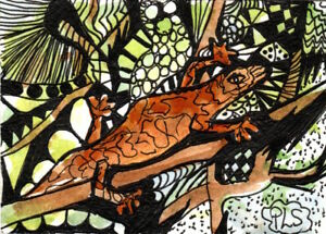 ACEO Gecko Lizard Reptile Abstract Art zentangle WC + Pen doodle Penny StewArt