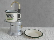 Vintage Italian 1 CUP ESPRESSO COFFEE MAKER sign.Bialetti  enameled CUP & SAUCER