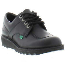 Kickers Kick Lo Womens Ladies Black Leather Lace Up School Work Shoes Size 4-8