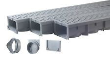 "Drainage Trench, Channel Drain With Grate, Gray Plastic - 3 x 39"" - (117"" Total)"