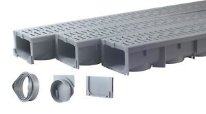 """Drainage Trench, Channel Drain With Grate, Gray Plastic - 3 x 39"""" - (117"""" Total)"""