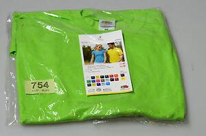 Ladies/ Mens Original T, T-Shirt, Fruit of the Loom. Green Size L (tag754) short
