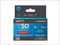 Arrow T50 Staples Stainless Steel 508SS 12mm (1/2in) 1000 ARRT5012SS Rustproof