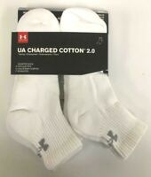 New Under Armour Charged Cotton 2.0 Quarter White Socks - U321 - 6 Pack