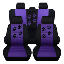 Fits 2015 2017 Ford Focus Front Rear Paw Print Seat Covers Black Purple SBC Inc
