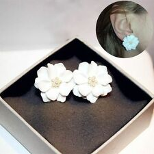 1 Pair Gifts Plastic Stud Earring Simulated Pearl Camellia Big White Flower