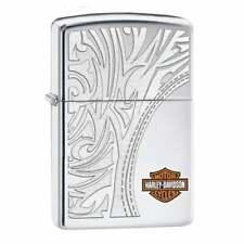 More details for zippo x harley-davidson lighter engraved luxury high polish chrome