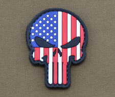 """PVC / Rubber Patch """"American / Usa Flag Punisher"""" with VELCRO® brand hook"""