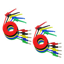 10X Banana Plug to Crocodile Alligator Clip Test Lead Wire Cable Set 5A 1Meter
