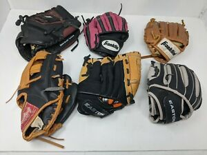 "Lot of 6 Used Youth Baseball Gloves RHT Rawlings, Franklin, Easton 9"" 9.5"" 10.5"""
