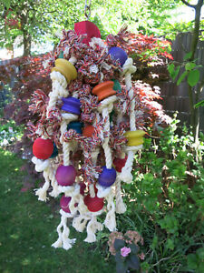 Papageienspielzeug  ! Fun Puppy ! Buntes  Holz - Baumwollspielzeug ! Edelstahl !