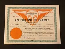 1919 Long Horn Oil Company Stock Certificate Type 2 Denver, Colorado 5000 shares