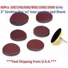 """60Pcs 100/240/600/800/1000/2000 Grits 3"""" Sanding Disc w/ loop sanding pad Shank"""
