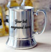 Personalised Engraved Stainless Steel tankard Gift For Him Any Engraving