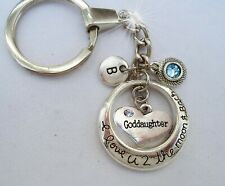 Goddaughter I Love U 2 the Moon and Back Keychain w-Birthstone & Letter Charm