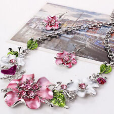 Boho Colorful Flower Womens Jewelry Set Adjustable Charm Necklace Earring F3
