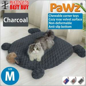PaWz Pet Calming Bed Cat Dog Squeaky Toys Cushion Puppy Kennel Mat (M)(Charcoal)