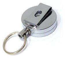 1x Metal Retractable Reel Badge ID Holder Belt Clip Nurse Name Card Key Silver