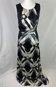 Monsoon 100% Silk Dress Women's UK8 NEW RRP £95 Black White Grey Maxi Gown K352