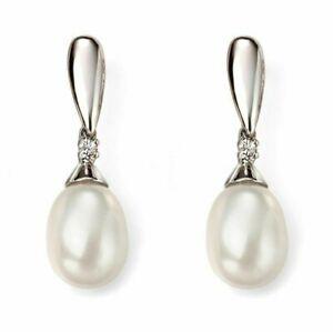 White Gold Pearl & Diamond Drop Earrings , jewellery