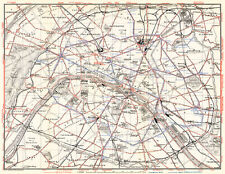 Paris Tramway Network Map from 1910 (Wagner&Debes), Vintage Print Poster Print