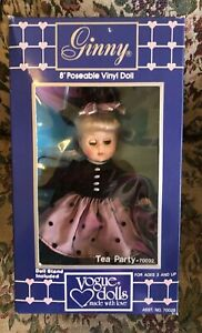 """8"""" Vogue Ginny Tea Party Doll With Stand Original Outfit With Hat New In Box"""