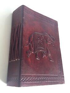 Tagebuch Leder Recycelt Elefant Geprägtes Notizbuch Gemüse Färbemittel Tagebuch