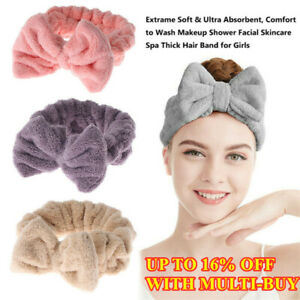Big Bow Soft Elastic Hair Band Wrap Headband Bath Spa Make Up Solid Color Towel.