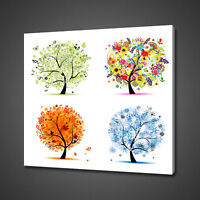 FOUR SEASON TREES ABSTRACT CANVAS PICTURE PRINT WALL ART HOME DECOR DESIGN