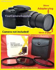 TO FUJI FINEPIX CAMERA S8300 S8500 ADAPTER RING +FILTER KIT UV+ CPL+ FLD 58mm