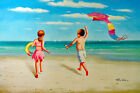 Beach Children Playing Girl & Boy Kite Flying Shore 24X36 Oil Painting STRETCHED