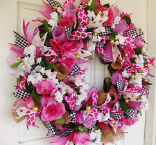 Beautiful Romantic Floral Valentines Day Mesh Front Door Wreath Decor Decoration