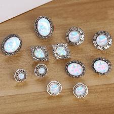 6 Pairs Vintage Women Stud Earrings Carved Flower Opal Earrings Elegant Jewelry