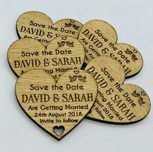 Personalised Rustic Wooden Heart Save The Date Fridge Magnets Wedding Invites