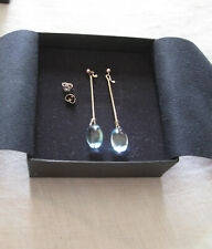 GEORG JENSEN drop blue topaz sterling silver earrings #144 in GJ box new