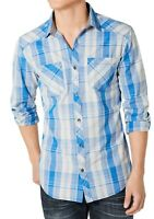 INC Mens Shirt Blue Gray Size XL Aaron Plaid Long Sleeve Button Down $49 115